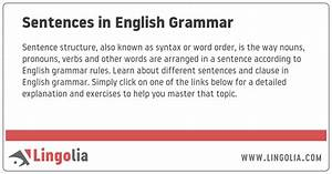 Sentences In English Grammar