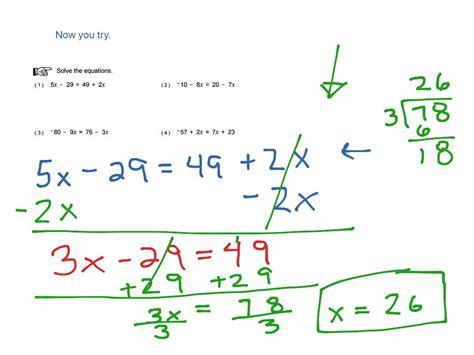 worksheet works solving multi step equations variables on