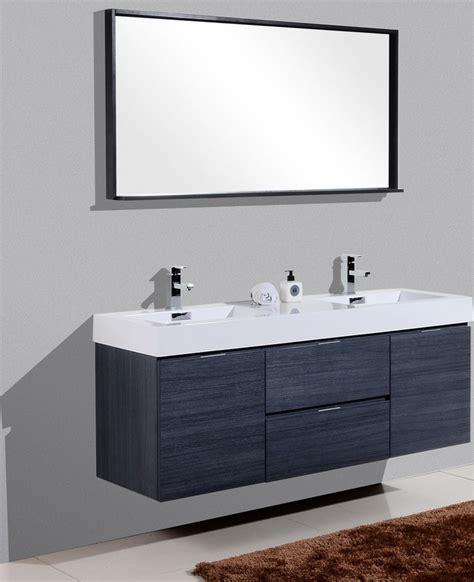 bliss  high gloss gray oak wall mount double sink vanity