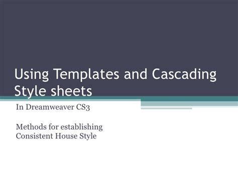 templates  cascading style sheets
