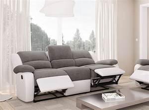 Canapé 3 Places : canap relaxation 3 places microfibre simili detente ~ Louise-bijoux.com Idées de Décoration