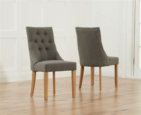 pacific grey fabric oak leg dining chairs pair