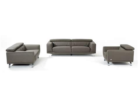 Divani Leather Sofa by Divani Casa Brustle Modern Grey Eco Leather Sofa Set