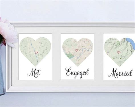 FRAMED Met Engaged Married / Personalised map love story