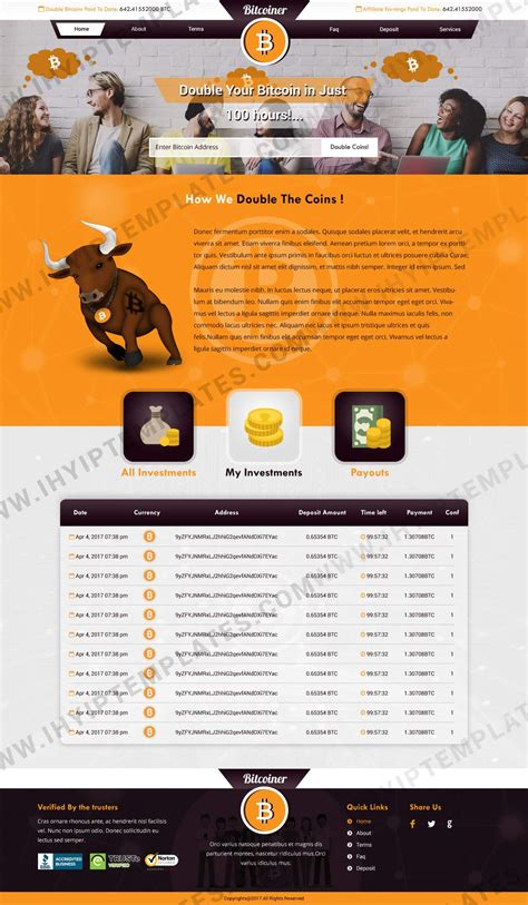 Each review includes a full screenshot of the website design along with noteworthy features. Bitcoin Doubler Templates image by IHYIP Templates | Website template, Templates, Web design