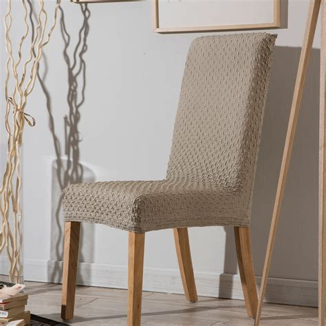 housse extensible de chaise housse de chaise bi extensible unie effet gauffré marine beige