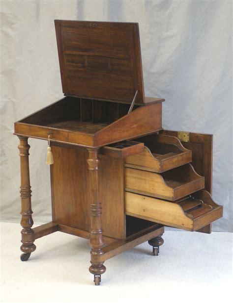 unusual solid walnut antique davenport writing desk