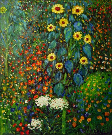 framed klimt garden with sunflowers repro painted