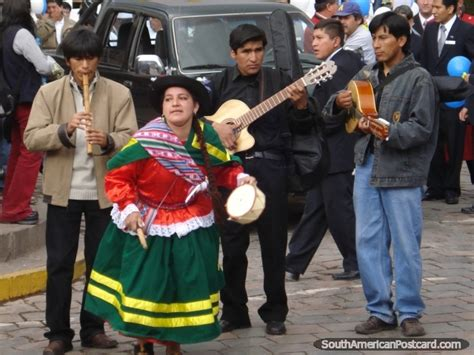 Center for traditional music and dance. A cultural celebration in Cusco with music and dancing in the streets. Photo from Peru, South ...