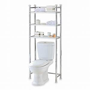 No tools bathroom space saver in chrome glass for Space savers for bathroom