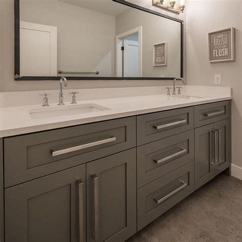 kitchen cabinets pulls grey bathroom cabinet with white quartz countertop and 3184