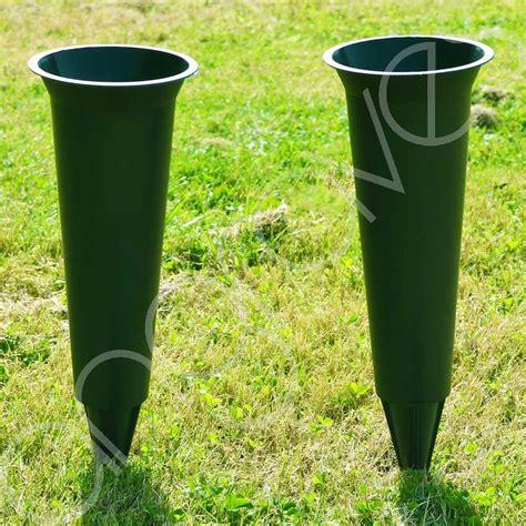 Vase For Grave by Set Of 2 Green Plain Spiked Memorial Grave Flower Vases