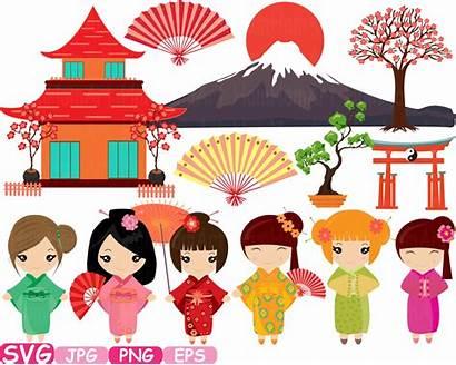 Japanese Kokeshi Dolls Clip Svg China Asian