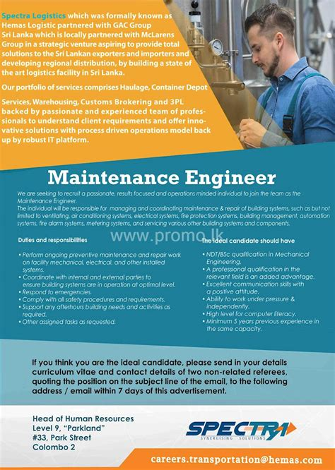 maintenance engineer  hemas holdings