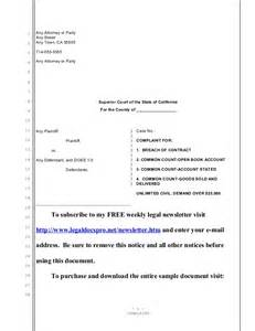 Sample California complaint for breach of contract and