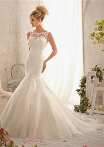 Fit and flare mermaid scalloped illusion neckline v back for Fit and flare tulle wedding dress