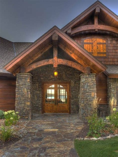 4 Homes With Design Focused On Beautiful Wood Elements by Really Like The Stonework Would Make A Beautiful Entrance