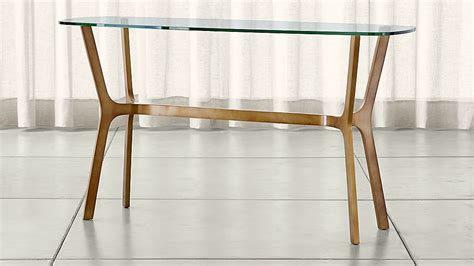 elke glass console table  brass base reviews crate