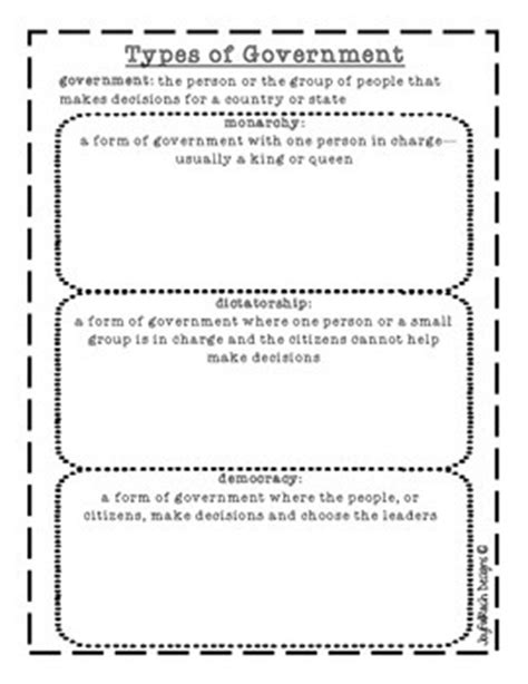 types of government printable monarchy dictatorship and democracy