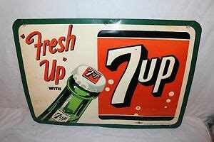 vintage 1953 7up 7 up quot fresh up quot soda pop bottle 27 quot embossed metal sign ebay