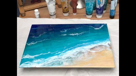 epoxy resin acrylic art beginners ocean scene