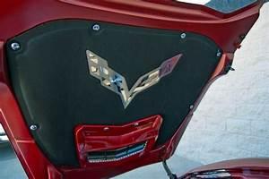 Corvette Badge Hood Liner Stainless Steel C7 Crossed Flags