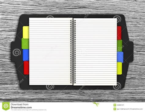 Leather Open Notebook On Old Wooden Background Stock Illustration  Illustration Of Plank