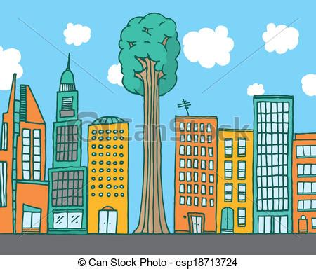 big tree standing  city buildings cartoon