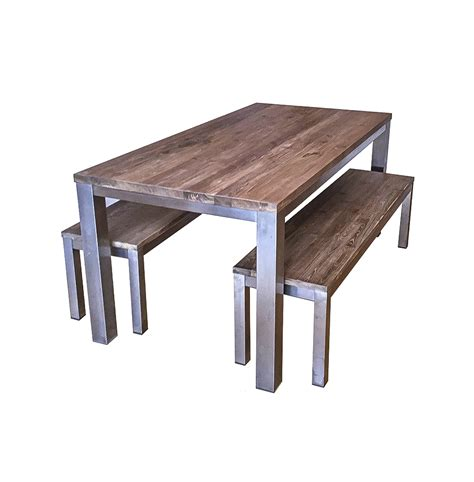 koeta industrial dining table and benches