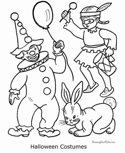 Coloring Halloween Pages Costume Costumes Printable Happy