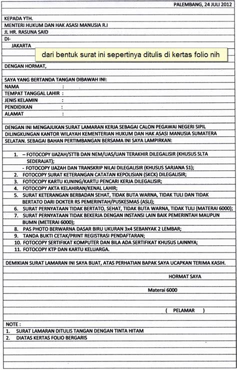 Contoh Lamaran Cpns Kemdikbud by Surat Lamaran Kerja Cpns Kemenkumham Ben