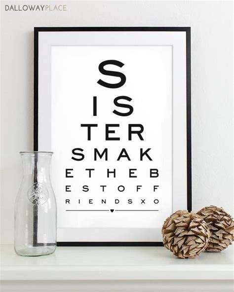 christmas gifts sister of honor gift for print eye chart quote