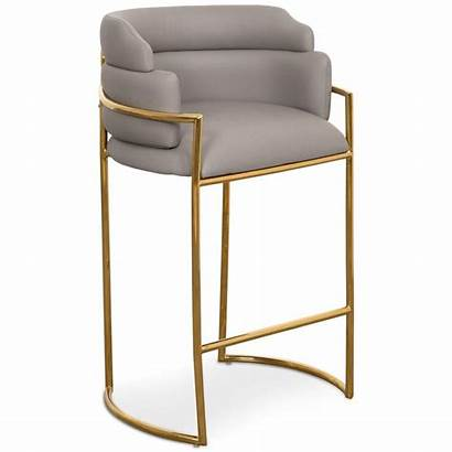 Stool Bar Modern Brass Leather Faux Grey