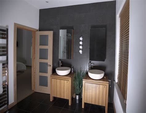 salle de bain carrelage ardoise salle de bain blanc teck