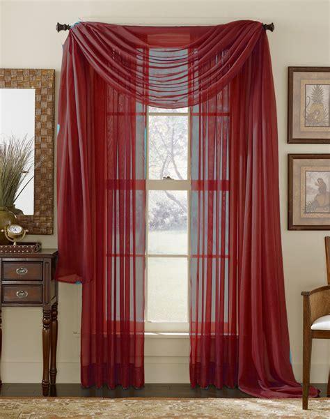 Maroon Window Valances by Elegance Sheer Voile Panel Claret Burgundy