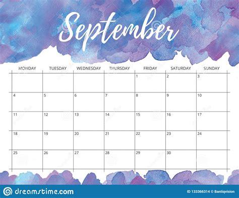 september watercolor calendar stock illustration