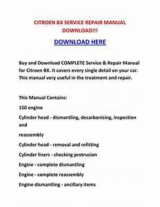 Shop Manual   Citroen Bx Service Repair Manual Download    By Sheffieldbronsonipqgz