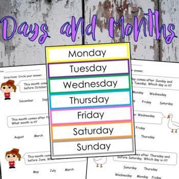 days months worksheets flashcards english spanish