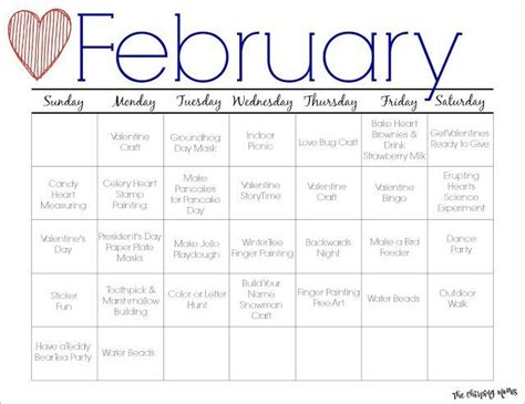 february printable activity calendar  kids kids