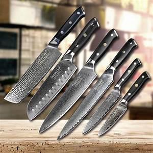 Sunnecko, 6pcs, Kitchen, Knives, Set, Damascus, Chef, Knife, Japanese, Vg10, Steel, G10, Handle, Slicing