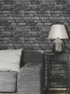 Mur Effet Brique : papier peint effet de brique gris noir d co salon pinterest briques papier peint et peindre ~ Melissatoandfro.com Idées de Décoration