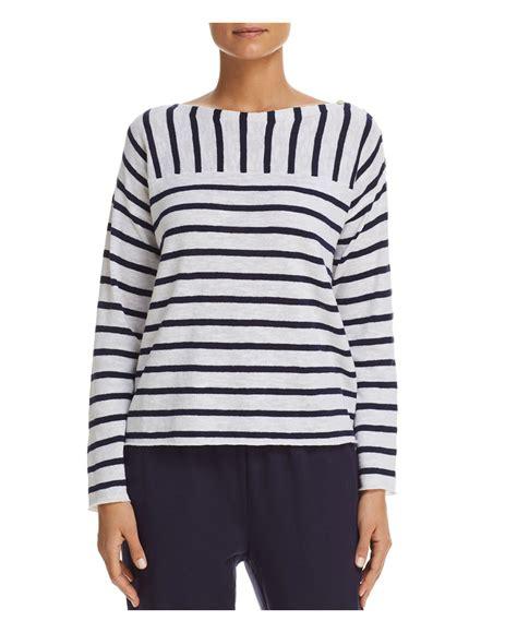 Eileen Fisher Boat Neck Sweater by Lyst Eileen Fisher Striped Boat Neck Sweater In White