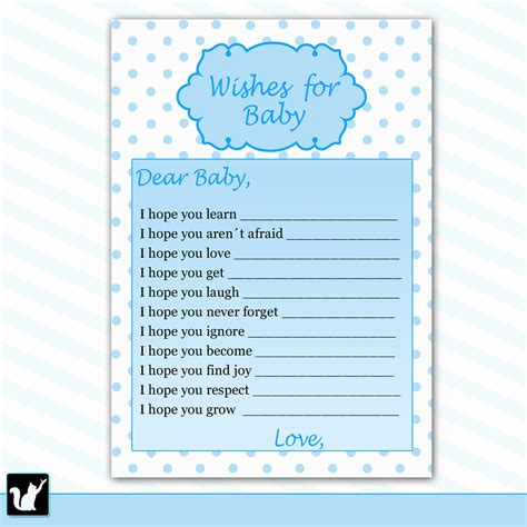 wishes  baby card baby boy shower printable