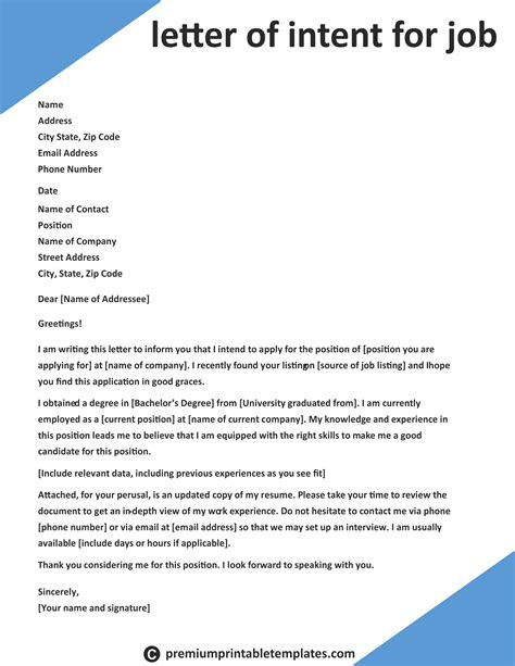 Cover Letter Of Intent Template by Letter Of Intent For Intent Letter Templates Cover