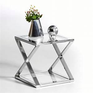 Table De Chevet Verre : table de chevet verre metal ~ Teatrodelosmanantiales.com Idées de Décoration