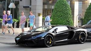 Full Black Lamborghini Aventador Roadster in Hungary - YouTube