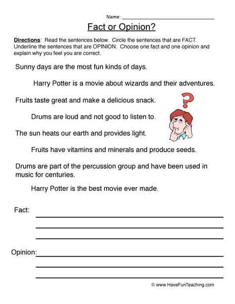 fact and opinion worksheets teaching