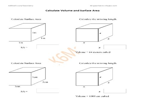 Calculate Volume And Surface Area Cubes Worksheet For 7th  10th Grade  Lesson Planet