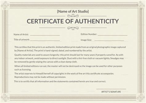 Certificate Of Authenticity Template Why Is A Certificate Of Authenticity Essential In