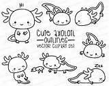 Axolotl Kawaii Outlines Clipart Vector Dibujos Premium Coloring Ajolote Clip Printable Mignon Colorear Paper Scrapbook Instant Vectors Doodles Contours Tatuar sketch template